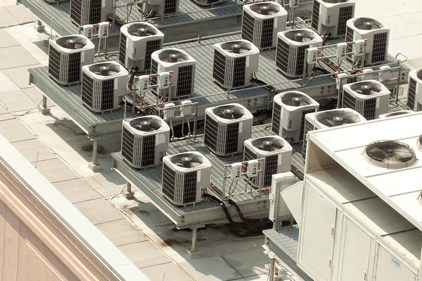 25 hvac units on building roof