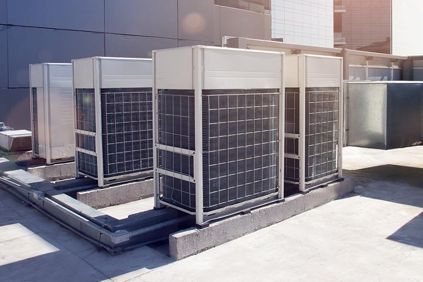 air conditioning system on a commercial building roof