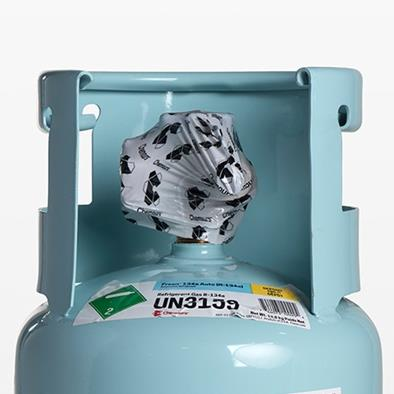 blue canister with freon tm 134a auto r-134a label
