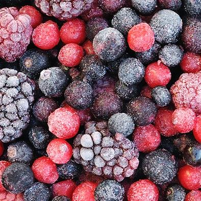 closeup of mixed frozen berries