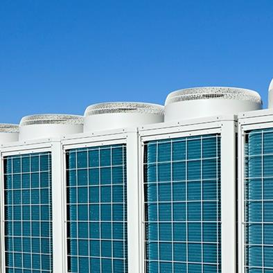 series of 8 hvac units on a roof